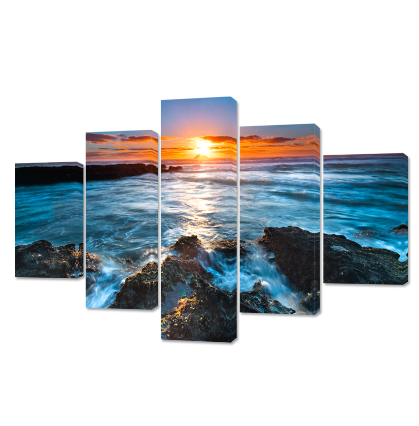 N 5 Piece Scenery Sunrise Modular Modular Pictures