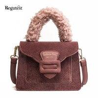 Begutest Designing Lady Fur Bag Female 2018 Small Flap Korean Bags Pink Cute Shoulder Bags Frosted Fashion Messenger Handbags