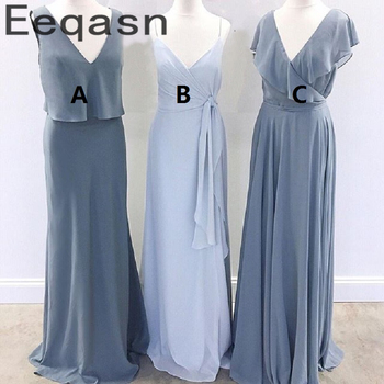2020 New A-Line Bridesmaid Dresses Sleeveless V Neck Chiffon Wedding Guest Maid Of Honor Long Dress Party For Women Prom Dresses