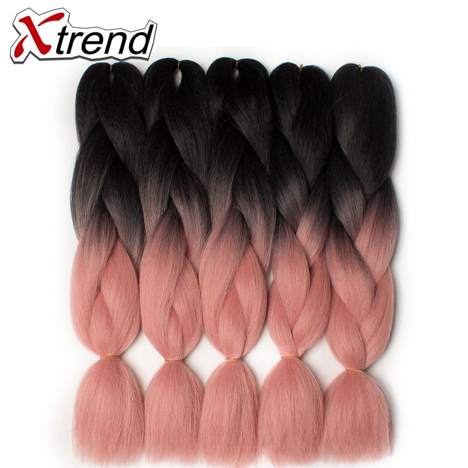 Hair Extensions & Wigs Qp Hair Green Ombre Kanekalon Braiding Hair 24 Inch Jumbo Braids Black Green Braid Synthetic Extensions Crochet Twist Hair 10pcs