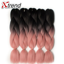 Xtrend 8PCS Synthetic Jumbo Braids Crochet Hair 24inch Ombre Kanekalon Braiding Hair Extensions For Women Pink Green Purple Blue(China)