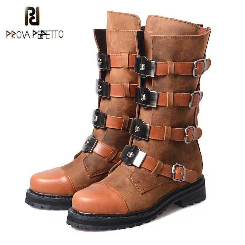 Prova Perfetto Euramerican Retro Design Cow Genuine Leather Patchwork Buckle Strap Motorcycle Boots Punk Style Woman Mid Boots