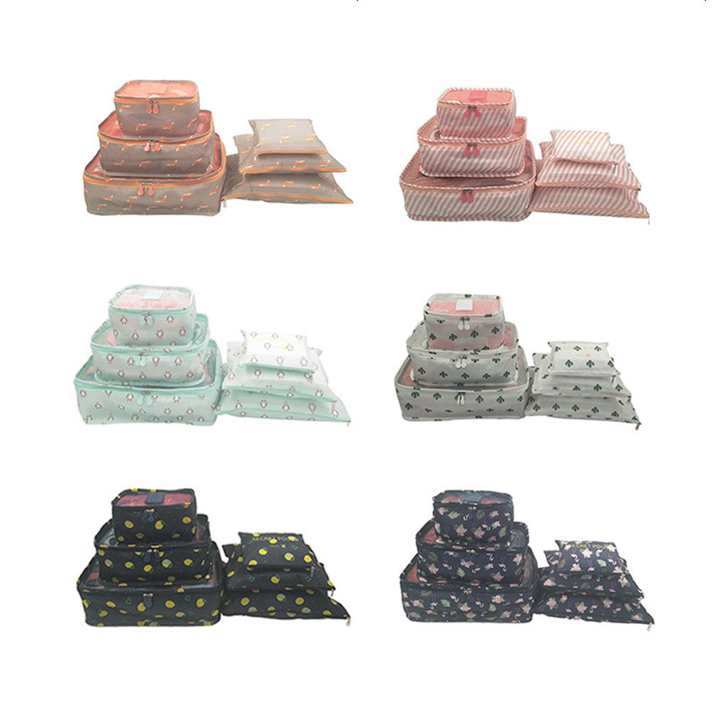 Useful 6Pcs Packing Cubes Travel Pouches Luggage Organiser Clothes Suitcase Storage Bag Travel Accessories Set