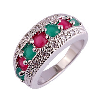 New Women Rings Jewelry Delicate Red Green Emerald & Ruby 925 Silver Band Ring Size 6 7 8 9 10 11 12 Wholesale Free Shipping