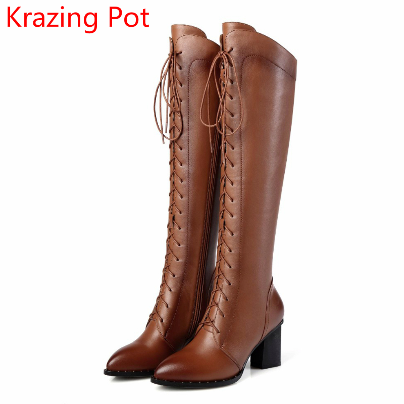 Big Size Genuine Leather Pointed Toe Thigh High Boots Lace Up High Heels Keep Warm Winter Boots Retro Over-the-knee Boots L10 genuine leather women over the knee boots pointed toe wedge heels thick warm lady winter long boots plus size 43 44 45 big size