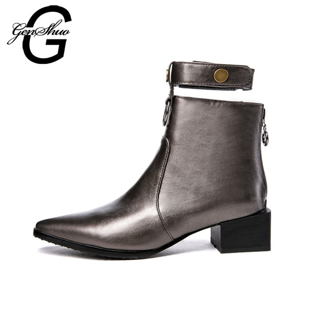 GENSHUO New Winter Woman Boots Non Slip Rubber Sole Motorcycle Boots Women PU Leather Ankle Strap Ankle Boots Short Plush Boots