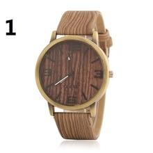Mens Watches Top Brand Luxury Fashion Men Clock wooden lines Brown Leather Strap Quartz Watch Relogio Masculino alloy watch