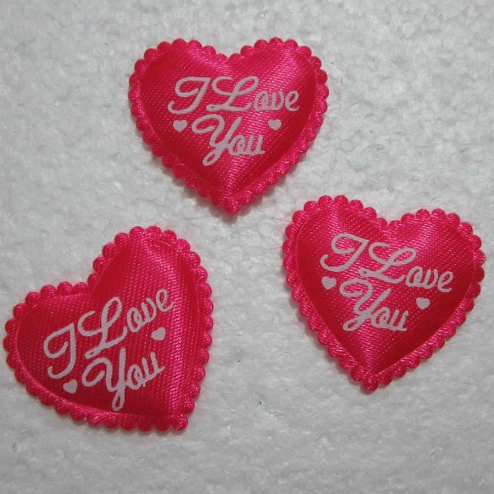 HOT 40pcs Padded Felt Heart I LOVE YOU Applique Sewing Trim DIY Wedding decoration A165