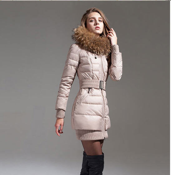 Beige/Black 2013 Winter Women Thick Warm Long Slim Luxury Faux Fox Fur Collar Hood Duck Down Jacket With Belt 5Color Xs-Xl D1902 2013 women autumn winter fashion candy color faux wool fur collar hood slim long thick cotton padded coatm l xl d2151
