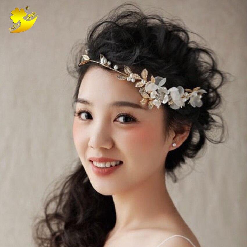 Xinyun Korean Golden White Hair Flower Headband Pearl
