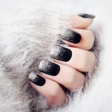 Glitter Sliver Fake Nail Black Acrylic Short Nail Tips Full Cover Nail Nail Art Manicure Tools Retro Style 24Pcs Z902