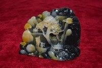 Zeldzame Chinese Natuurlijke ShouShan Steen Hand Gesneden Decoratie Landschap, Mountain goden, #11, Gratis verzending