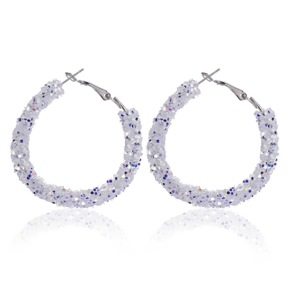 Şık avusturyalı kristal büyük daire Hoop küpe kadınlar için Charm yuvarlak parlak Rhinestone Glitter küpe güzel takı
