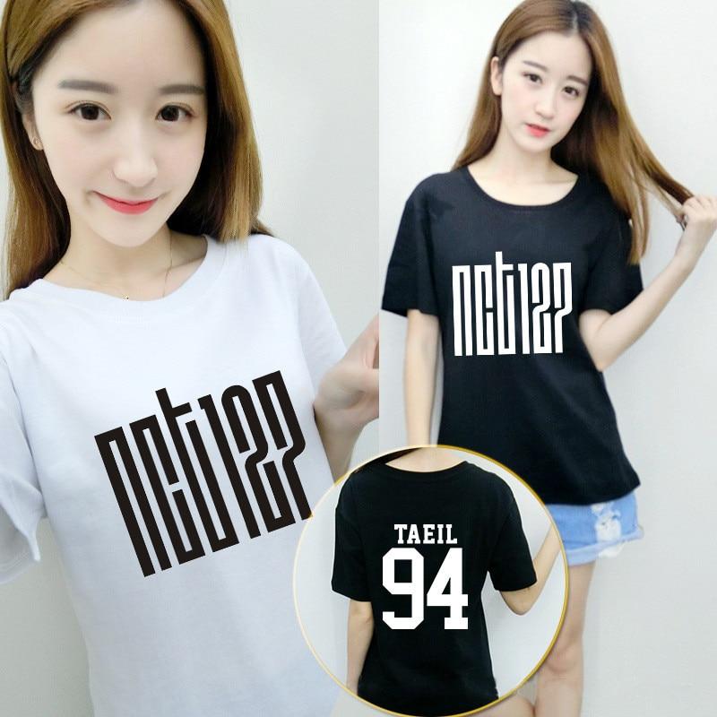 US $18 02 |KPOP Korean Fashion NCT 127 Album HAECHAN JAEHYUN MARK TAEIL  TAEYONG Cotton Tshirt K POP T Shirts T shirt -in T-Shirts from Women's