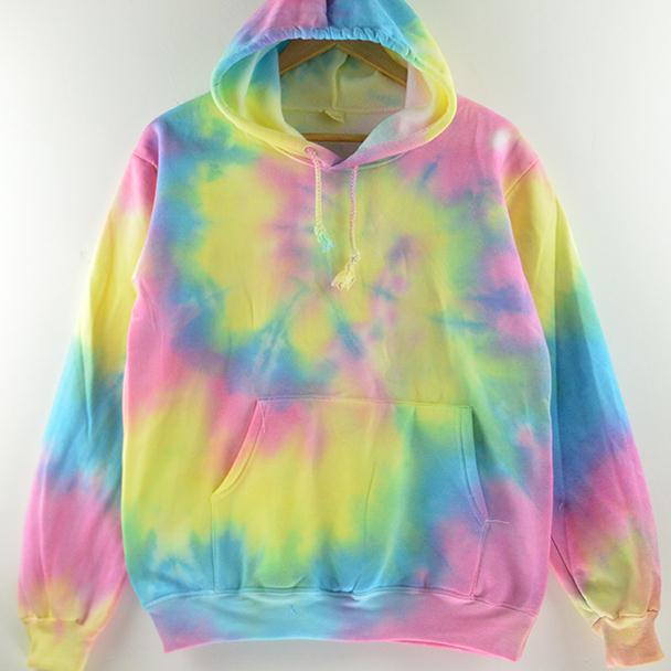 Harajuku tie dyeing Plus Size Fashion Gradient Color Tie dyed Harajuku Hoodies Sweatshirt Women Korean Fall Style Rainbow AW431