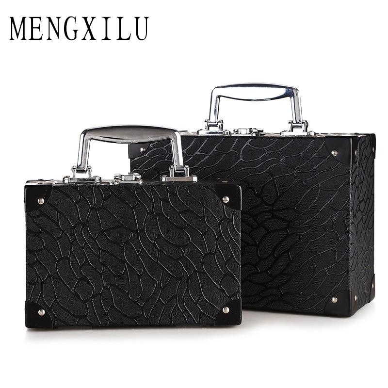 MENGXILU Fashion Women Cosmetic Bag professional Aluminium PUMakeup Box Makeup Case Beauty Case Cosmetic Bag Travel Train Cases цена