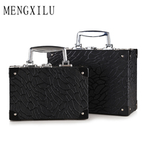 MENGXILU Fashion Women Cosmetic Bag Professional Aluminium PUMakeup Box Makeup Case Beauty Case Cosmetic Bag Travel