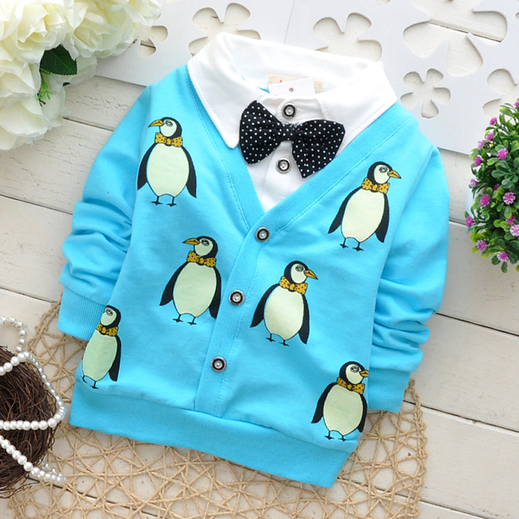 Low price processing High quality Baby Girls Boys Autumn T Shirt Cartoon Penguin Infant Lapel T Shirt Kids Sports Clothes