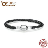 BAMOER Fashion 925 Sterling Silver Black Snake Chain Adjustable Bracelets For Women Fit DIY Brand Bracelet