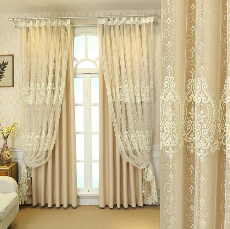 European Lace Embroidery Tulle Black Out Double Curtains with Leaves Tassel High Black Out Blinds Window