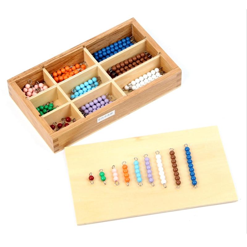 Professionele Montessori Math Materialen -Colored Snaren Kralen Leren & Educatief Speelgoed voor kinderen letras de madera Oyuncak Toy