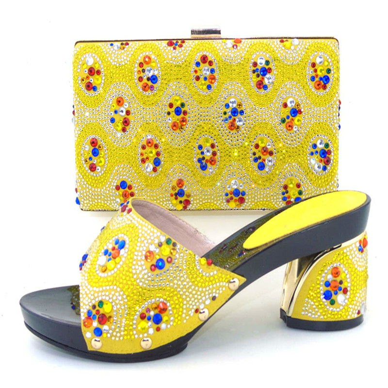 ФОТО yellow Shoes and Bag To Match Italian African Wedding 37-43Shoe and Bag Sets High Quality Elegant Italian Women Shoe and Bag Set