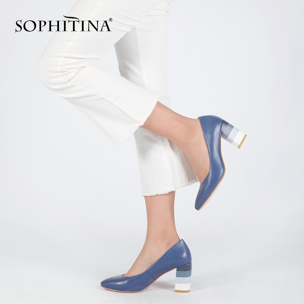 SOPHITINA Genuine Leather Woman Pumps Colorful Square Heels High Quality Sheepskin Sexy Pointed Toe Shoes Party