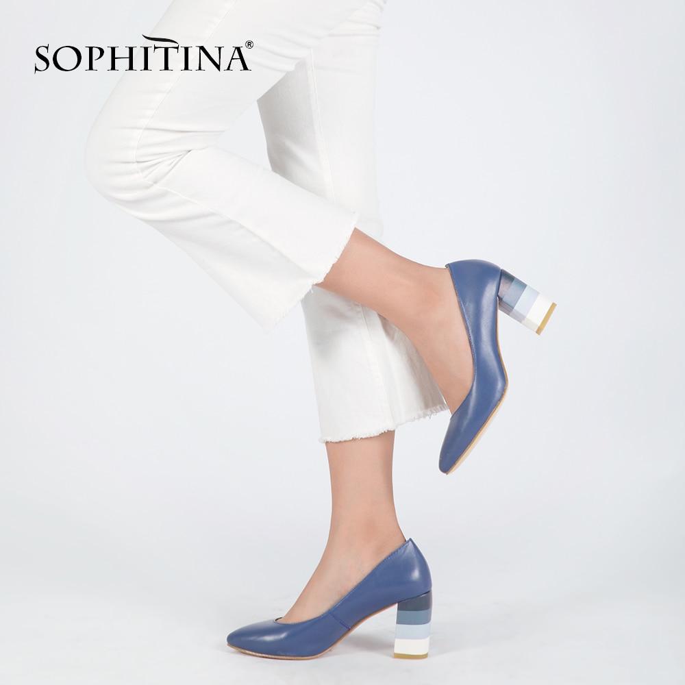 SOPHITINA Véritable Femme En Cuir Pompes Coloré Carré Talons Haute Qualité en peau de Mouton Sexy Bout Pointu Chaussures Parti Office Lady D24