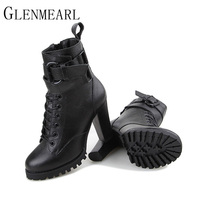 2015 Fashion Fall Winter Genuine Leather Women Boots Platform High Heeled Lace Up Ankle Boots Female