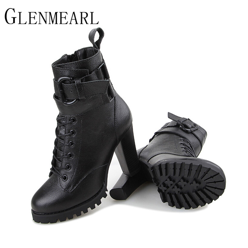 2018 Genuine Leather Women Boots Fashion Fall Winter Platform High-heeled Lace Up Ankle Boots Female Shoes Black Boots ZK2.5 2017 new fashion genuine leather snow boots female winter platform ankle boots women zipper lace up boots