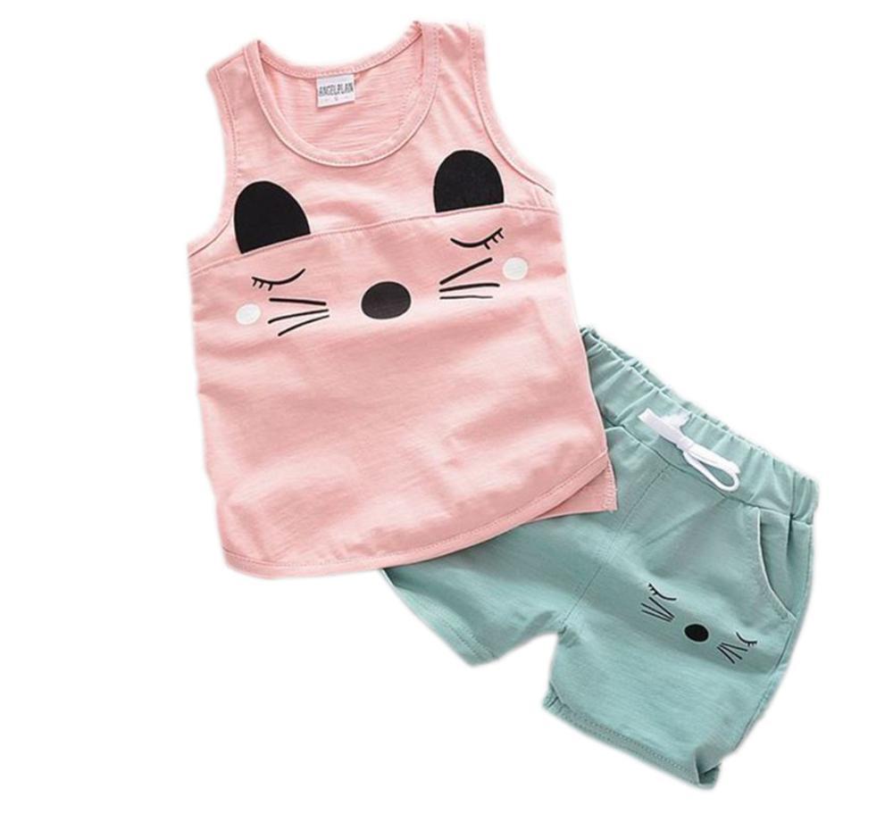 Baby girls boys clothes sets Summer Sleeveless Set Children Boys Girls Kids infant Suits Tracksuits Cotton Short + Pants 2pcs
