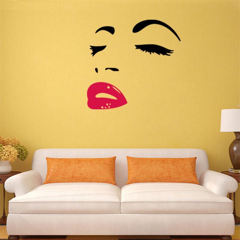 elegant fashion beauty face hot pink lip home decor wall sticker ...