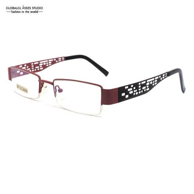 7b27170aa667 Rectangular Lens Metal Glasses Frame Women Pink Hollow Frame Black Temple  Chinese Style Stainless Steel Optical Eyeglasses 2677