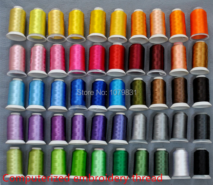 Huge 3000 yards cone computerized polyester filament embroidery sewing thread yarn 50 colors as machine embroidery