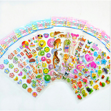 2017 New 2 Sheets Children Cartoon Early Learning Bubble Stickers Funny Stickers for Children Baby Kids