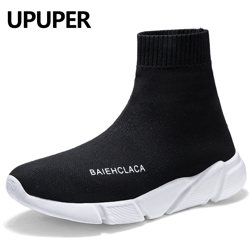 UPUPER Brand Fashion Sneakers Men Casual Shoes Unisex Big Size :35-47 Light High Top Breathable Socks Shoes Men Black Blue