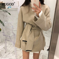 RUGOD 2019 New Fashion Knitted Women Sweater Solid Casual O Nekc Women Long Pullover Thick Warm Winter Clothes christmas sweater