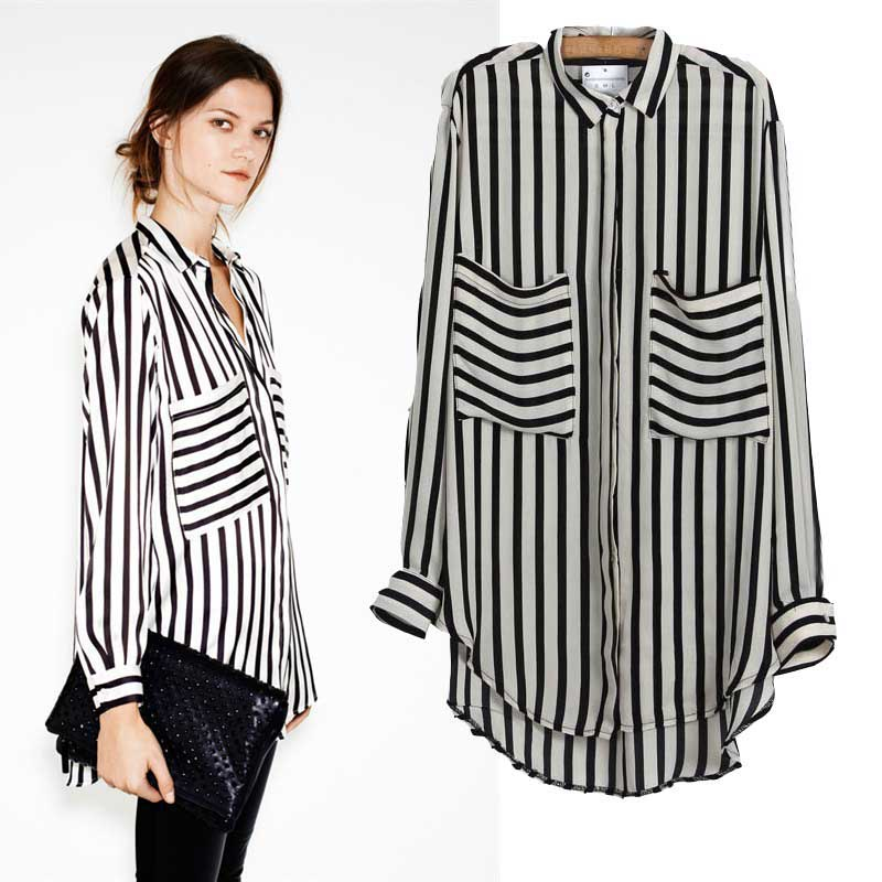 Office Ladies  Black And White Stripe Long Sleeve Casual Chiffon Shirts Top  with Single Pocket Women s Turn-down Collar Blouses 6f0b3f31b944
