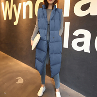 New winter thicken warm cotton down vest women fashion single button loose version long sleeveless coat women veste femme MJ1