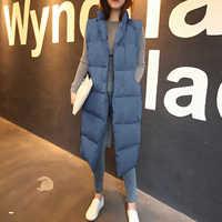 Nouveau hiver épaissir chaud coton vers le bas gilet femmes mode unique bouton lâche version longue sans manches manteau femmes veste femme MJ1