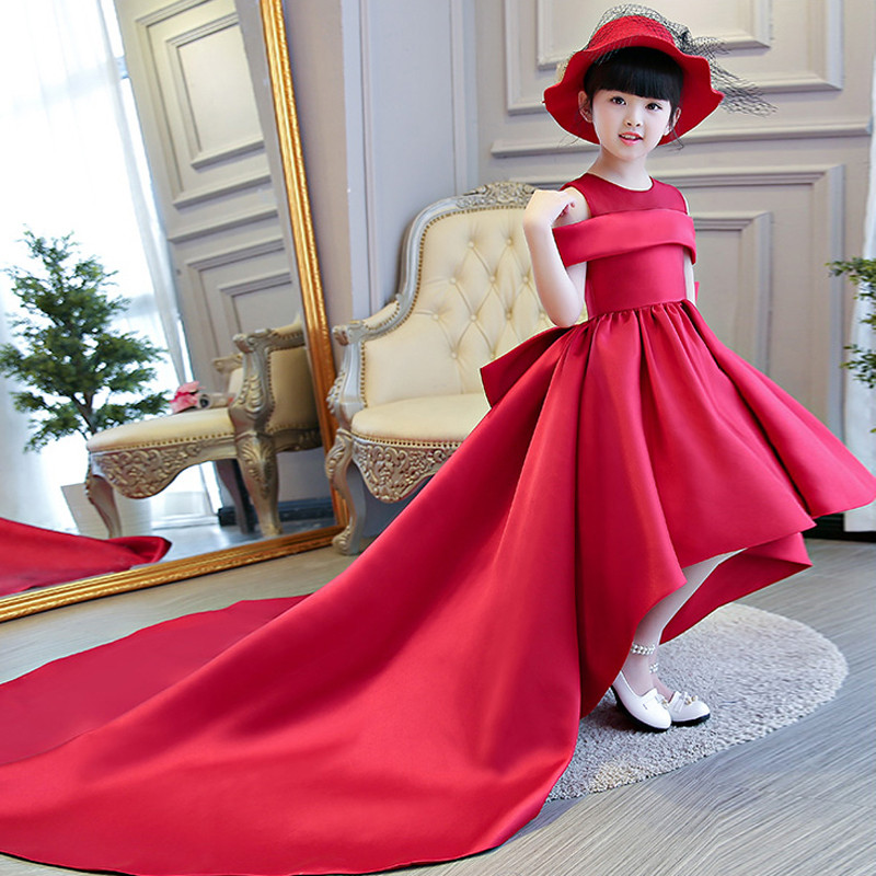 2018 Red Color Children Girls Luxury Birthday Wedding Party Dress With Big Long Trailing Kids Model Show Pageant Bow-Tie Dress