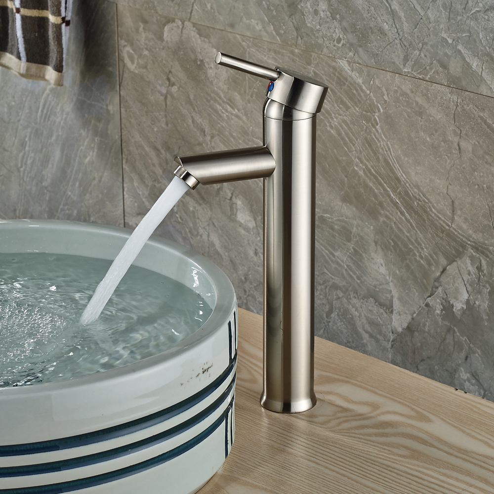 Nickel Brushed Finished Deck Mounted Bathroom Sink Faucet Single Handle/Hole Mixer Tap стоимость