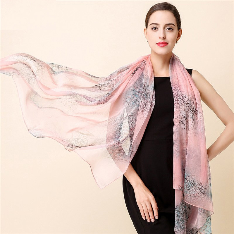High quality 100% mulberry silk scarf  natural real silk Women Long scarves Shawl Female hijab  wrap winter new arrival