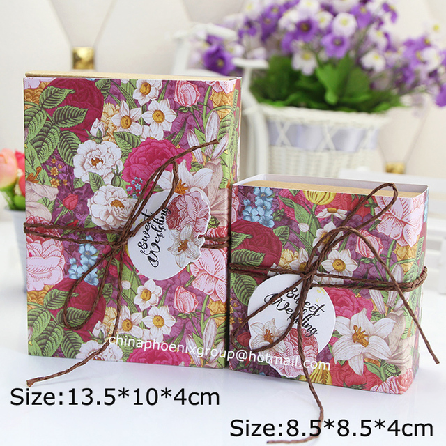 Wholesale 30pcs Lot Vintage Flower Kraft Paper Boxes Wedding Candy Packaging Biscuit Cookie Chocolate