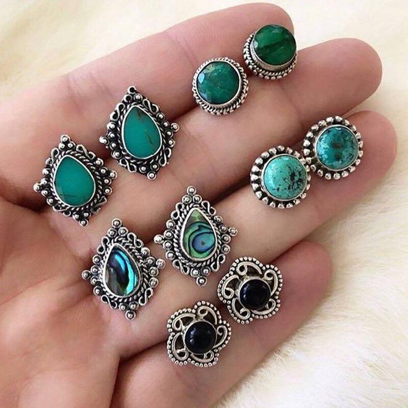 EK503 5Pairs/Set Water Drop Green Stone Stud Earrings For Women Boho Boucle D'oreille Jewelry Gems Earring Set Dazzling Brincos