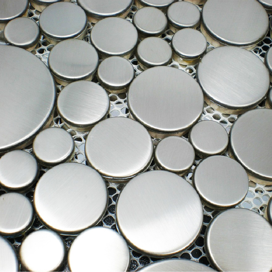 Penny Round Backsplash: Metal Mosaics Stainless Steel Tile Penny Rounds Kitchen