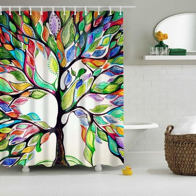 Design Fabric Bathroom Curtain Decor Crazy Lynx Colorful Shower Tree Of Life 72 X72 Inch