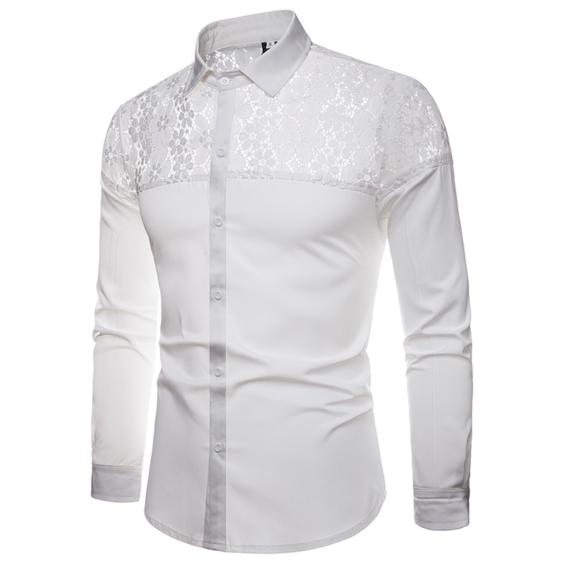 TUNEVUSE 2018  Lace Nightclub Costume Design Men's Long-sleeved Lapel Shirt Cool Shirts Mens Clothing  Streetwear