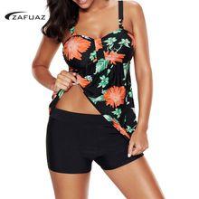 2019 New Sexy Floral Print Women Tankini Swimwear Two Piece Plus size Swimsuit Shorts Push up Female Bathingsuit Skirt Beach 4XL все цены