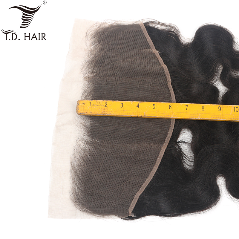 Tdhair 130% Peruvian Body Wave 13x6 Frontal Lace Closure Ear To Ear Lace Frontal Closure Remy Hair Free Part